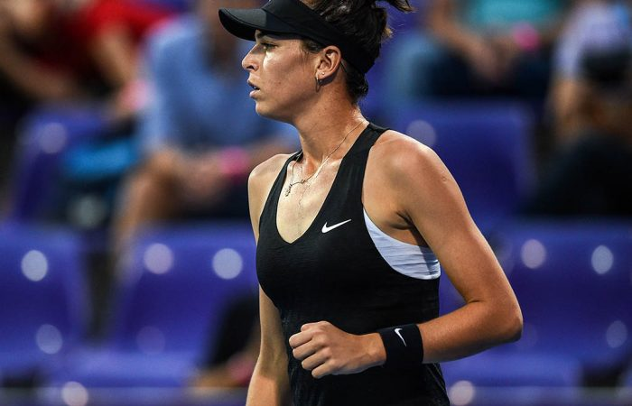 Ajla Tomljanovic of Australia reacts after a point against Tamara Zidansek of Slovakia during their semi-final match at the Thailand Open tennis tournament in Hua Hin on February 2, 2019. - Mail from : chalinee.thi@gmail.com  to : photobkk@afp.com, mailbox.BGKPHO@afp.com  Subject : PHOTO : WTA Thailand Open 2019 women's singles semi-finals (1st) #1  Body : T (Photo by Chalinee THIRASUPA / AFP)        (Photo credit should read CHALINEE THIRASUPA/AFP/Getty Images)