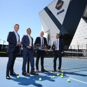 Todd Woodbridge, WA Minister for Tourism Paul Papalia, Tennis Australia CEO Craig Tiley and  Tennis West CEO Michael Roberts at Perth's RAC Arena; Getty Images