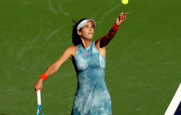 Ajla Tomljanovic in action during her first-round win over Alize Cornet at Indian Wells (Getty Images)