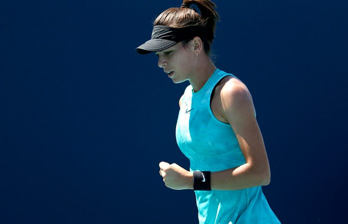 Ajla Tomljanovic celebrates a point during her second-round win over Aryna Sabalenka at the Miami Open (Getty Images)