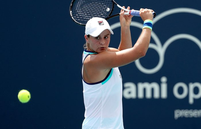 Ash Barty plays a backhand during her fourth-round win over Kiki Bertens at the Miami Open (Getty Images)