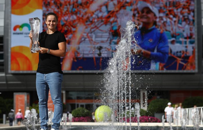 Ash Barty poses with her Miami Open champion's trophy (Getty Images)