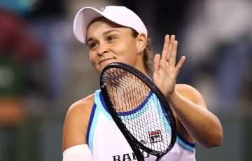 Ash Barty celebrates her third-round victory at Indian Wells (Getty Images)