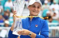 Ash Barty poses with her trophy after winning the Miami Open (Getty Images)