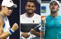 (L-R) Ash Barty, Nick Kyrgios and Jordan Thompson at the Miami Open (Getty Images)