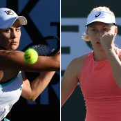 Ash Barty (L) and Daria Gavrilova in action during the second round of Indian Wells (Getty Images)