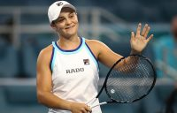 Ash Barty celebrates her progression to the Miami Open final after a straight-sets win over Anett Kontaveit (Getty Images)