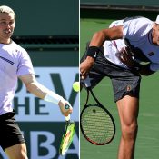 Alex Bolt (L) and Alexei Popyrin in action during the first round of the main draw at Indian Wells (Getty Images)