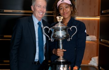 Craig Tiley poses with Australian Open 2019 women's singles champion Naomi Osaka (Getty Images)