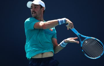 Jordan Thompson in action during his first-round win over Cameron Norrie at the Miami Open (Getty Images)