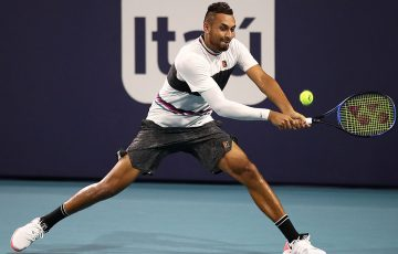 Nick Kyrgios in action during his third-round victory over Dusan Lajovic at the Miami Open (Getty Images)