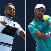 Nick Kyrgios (L) and Jordan Thompson advanced to the fourth round of the Miami Open (Getty Images)