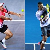 John Millman (L) and Nick Kyrgios are among the Aussies competing at the Miami Open (Getty Images)