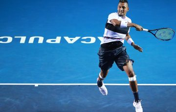 Nick Kyrgios in action during his quarterfinal victory over Stan Wawrinka in Acapulco (Getty Images)