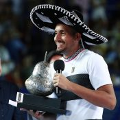 Nick Kyrgios celebrates his title at the ATP event in Acapulco (Getty Images)
