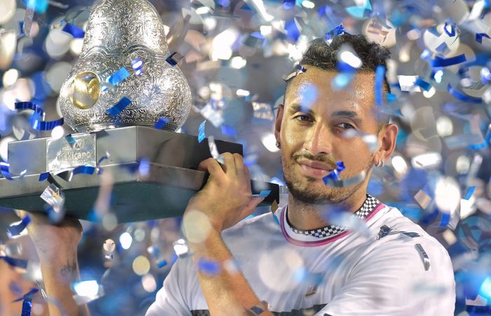 Nick Kyrgios poses with his trophy after winning the ATP tournament in Acapulco, Mexico (Getty Images)