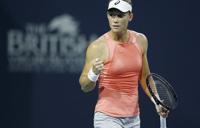 Sam Stosur celebrates during her second-round victory over Madison Keys at the Miami Open (Getty Images)