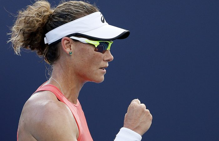 Sam Stosur in action during her first-round victory over Evgeniya Rodina at the Miami Open (Getty Images)