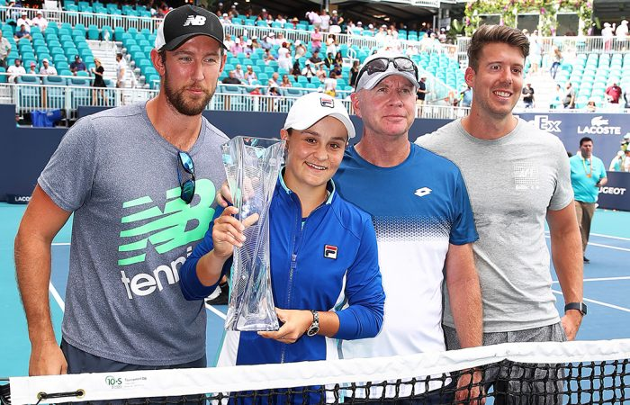 Ash Barty and Craig Tyzzer (centre left and centre right) at the Miami Open (Getty Images)