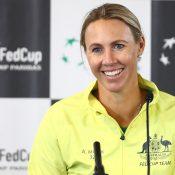 Alicia Molik speaks to the media ahead of Australia's Fed Cup semifinal against Belarus in Brisbane (Getty Images)