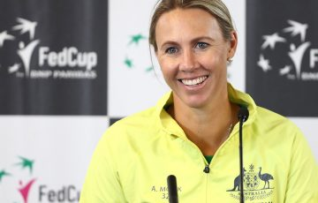 Alicia Molik speaks to the media ahead of Australia's Fed Cup semifinal against Belarus in Brisbane (Getty Images)