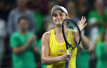 Ash Barty celebrates her victory over Victoria Azarenka in the second singles rubber of the Australia v Belarus Fed Cup semifinal in Brisbane (Getty Images)