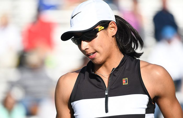 Astra Sharma in action at the WTA tournament in Charleston (photo credit: Chris Smith/Volvo Car Open)
