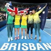 The Australian Fed Cup team celebrates its 3-2 semifinal victory over Belarus in Brisbane (Getty Images)