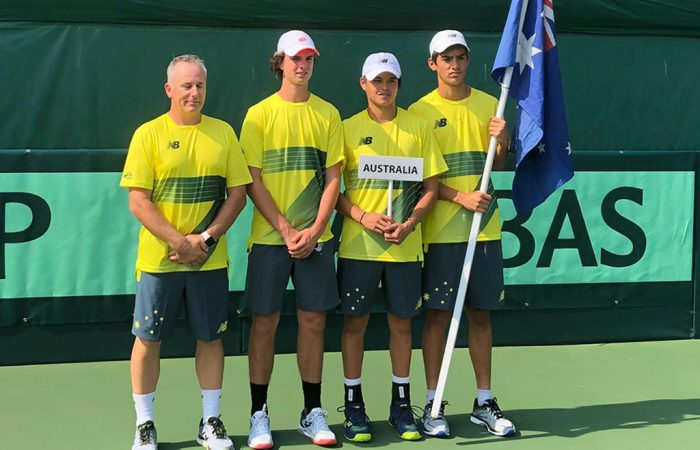Australia's Junior Davis Cup team of (L-R) captain Bernhard Goerlitz, Cooper White, Shuannon Tricerri and Philip Sekulic.