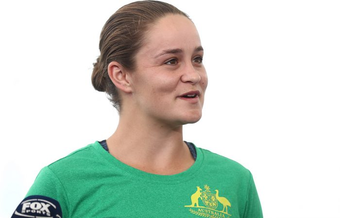 Ash Barty speaks to the media at the Queensland Tennis Centre (Getty Images)