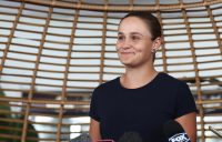Ash Barty chats to the media on her return home to Australia following her victory at the Miami Open (Getty Images)