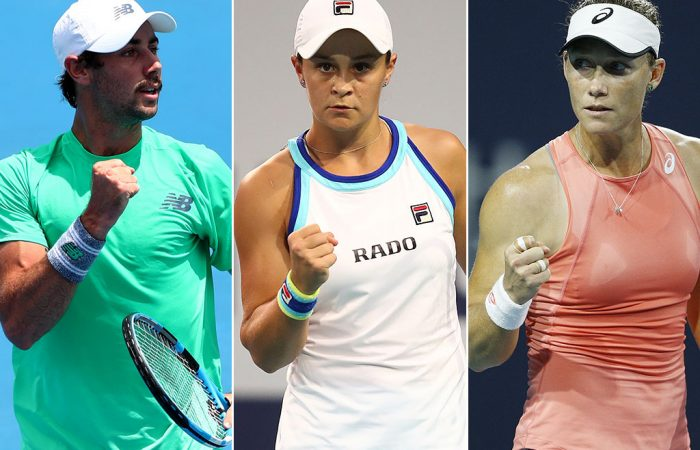 (L-R) Jordan Thompson, Ash Barty and Sam Stosur all made gains following the Miami Open (Getty Images)