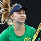 Daria Gavrilova trains for Australia's Fed Cup semifinal against Belarus in Brisbane (Getty Images)