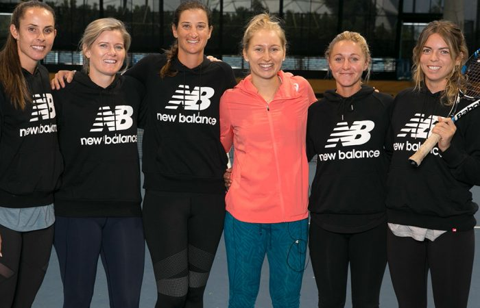 Daria Gavrilova joins President's Women in Tennis Scholarship recipients at the National Tennis Centre in Melbourne; Fiona Hamilton
