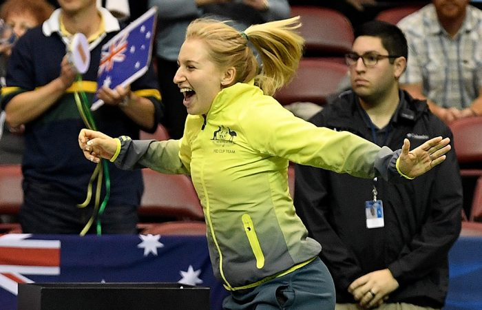Daria Gavrilova celebrates Australia's 3-2 win over the United States in the Fed Cup World Group first round in February 2019 in Asheville, North Carolina (Getty Images)