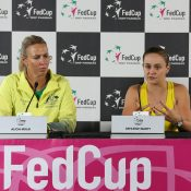 Alicia Molik (L) and Ash Barty speak to the media following Barty's win over Victoria Azarenka in the second singles rubber of Australia's Fed Cup semifinal against Belarus (Getty Images)