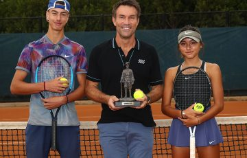 Pat Cash with Alex Bulte and Anastasia Berezov at the 2019 Gallipoli Youth Cup; Getty Images