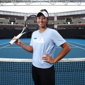 Priscilla Hon chats to the media at Pat Rafter Arena ahead of Australia's Fed Cup semifinal tie in Brisbane against Belarus (Getty Images)
