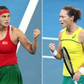 Aryna Sabalenka (L) and Sam Stosur during thier Fed Cup semifinal singles rubber (Getty Images)