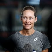 Sam Stosur chats to the media at Pat Rafter Arena (Getty Images)