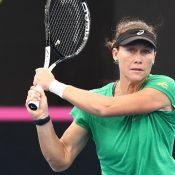 Sam Stosur practises ahead of Australia's Fed Cup semifinal against Belarus in Brisbane (Getty Images)