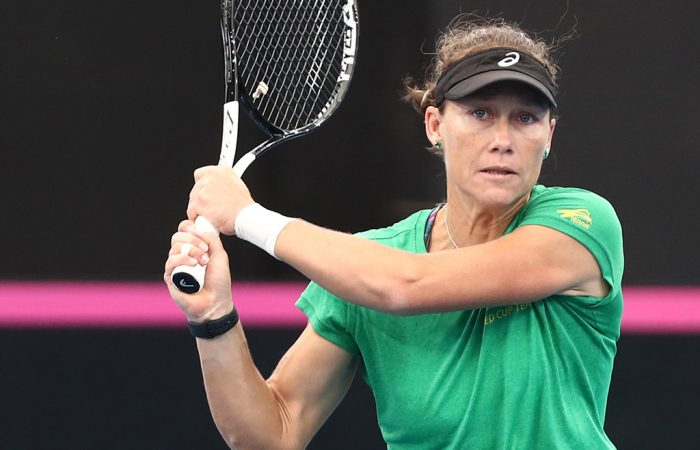 Sam Stosur practises ahead of Australia's Fed Cup semifinal against Belarus in Brisbane (Getty Images)