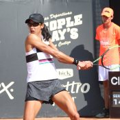 Astra Sharma in action at the WTA tournament in Bogota (photo credit: Claro Open Colsanitas)