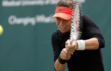 Ajla Tomljanovic in action at the Volvo Car Open in Charleston (photo credit: WTA)