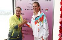 Ash Barty (L) and Victoria Azarenka at the Australia v Belarus Fed Cup draw ceremony in Brisbane (Getty Images)