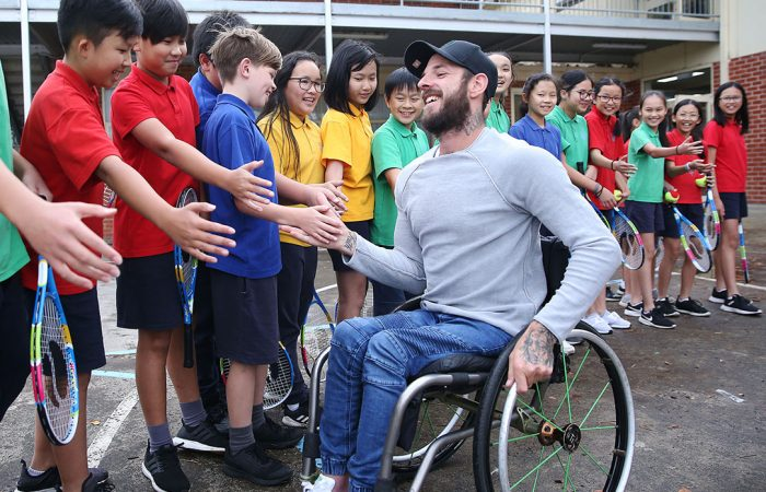 ON THE ROAD: Paralympic gold medallist Heath Davidson helped launch the ANZ Tennis Hot Shots Racquet Roadshow at St Joseph's Catholic Primary School in Springvale; Getty Images