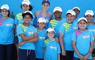 Ash Barty and ANZ Tennis Hot Shots kids
