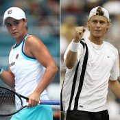 Left: Ash Barty at Miami in 2019 Right: Lleyton Hewitt at Indian Wells in 2003  (Getty Images)