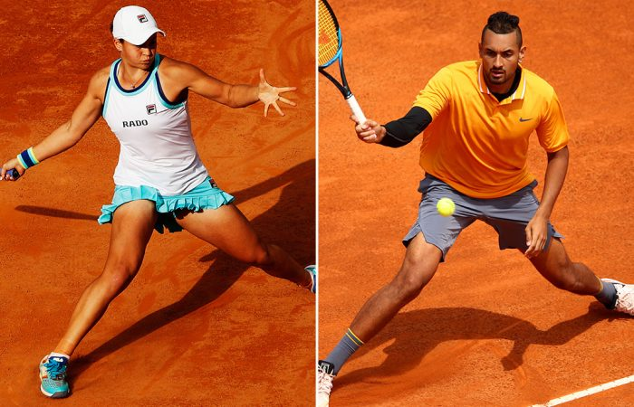Ash Barty (L) and Nick Kyrgios in action at the Internazionali BNL d'Italia in Rome (Getty Images)