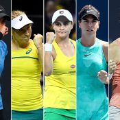(L-R) Astra Sharma, Daria Gavrilova, Ash Barty, Ajla Tomljanovic and Sam Stosur (Getty Images)